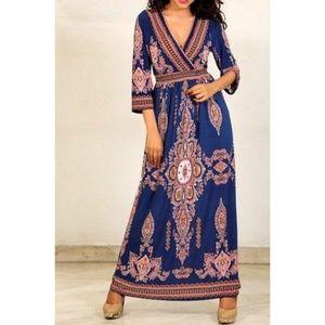 SOLD! NWT Lapogee Royal Blue Boho Maxi Dress L